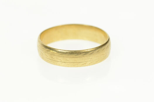10K Retro Vine Leaf Pattern Men's Wedding Band Yellow Gold Ring, Size 12