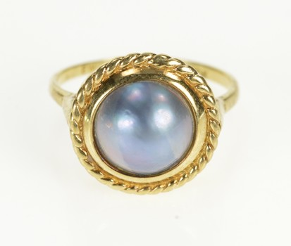 10K Rope Trim Pearl Ornate Statement Yellow Gold Ring, Size 9