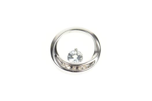 10K Round Blue Topaz Diamond Accent Circle White Gold Pendant