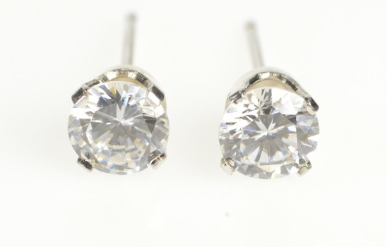 10K Round Cubic Zirconia Classic Solitaire Stud White Gold Earrings