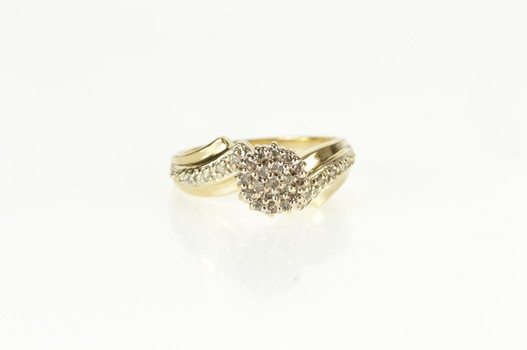 10K Round Diamond Cluster Bypass Promise Yellow Gold Ring, Size 6
