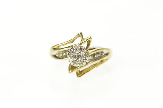 10K Round Diamond Cluster Bypass Statement Yellow Gold Ring, Size 4.75