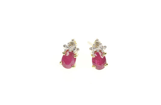 10K Round Ruby Diamond Accent Simple Stud Yellow Gold Earrings