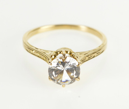 10K Round Solitaire Scroll Travel Engagement Yellow Gold Ring, Size 7.25