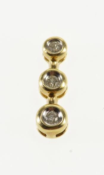 10K Round Tiered Diamond Inset Bar Yellow Gold Pendant
