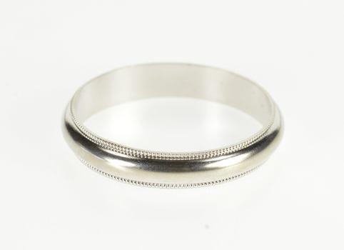 10K Rounded Dot Milgrain Trim Men's Wedding Band White Gold Ring, Size 11