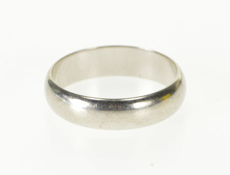 10K Rounded Face Simple Wedding Band White Gold Ring, Size 8.25