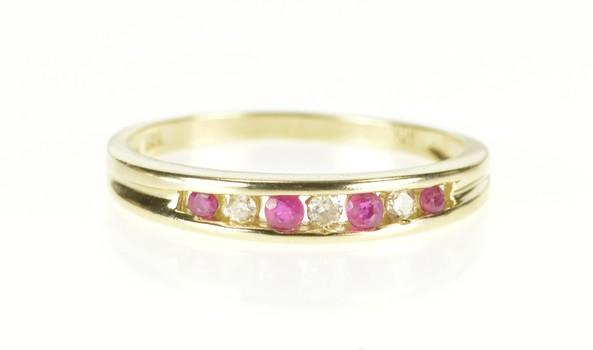 10K Ruby Diamond Channel Wedding Band Yellow Gold Ring, Size 7.75
