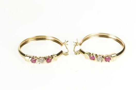 10K Ruby Diamond Fancy Fashion Hoop Yellow Gold Earrings