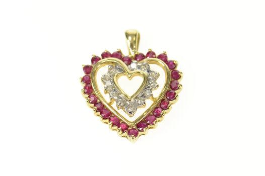 10K Ruby Diamond Halo Heart Love Symbol Yellow Gold Pendant