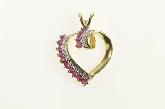 10K Ruby Diamond Two Tone Curvy Heart Yellow Gold Pendant