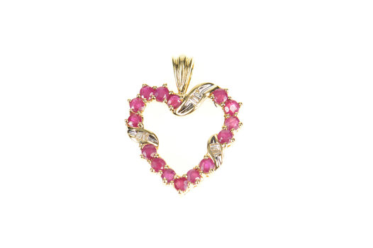 10K Ruby Encrusted Diamond Accent Heart Yellow Gold Pendant