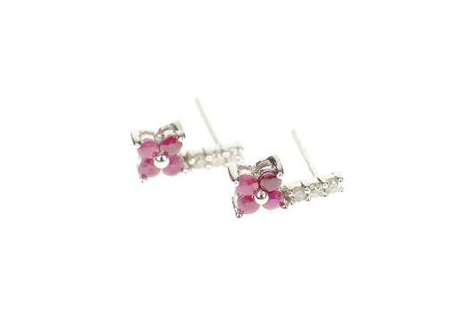 10K Ruby Flower Cluster Drop Diamond White Gold Earrings
