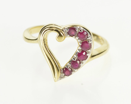 10K Ruby Inset Curvy Heart Anniversary Gift Love Yellow Gold Ring, Size 6.75