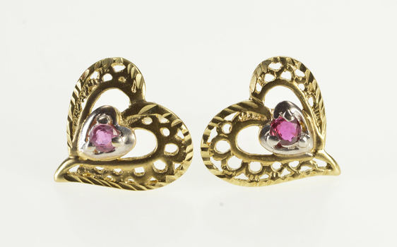 10K Ruby Solitaire Heart Romantic Gift Stud Yellow Gold Earrings