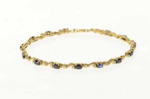 "10K Sapphire Diamond Accent Wavy Link Tennis Yellow Gold Bracelet 7.25"""