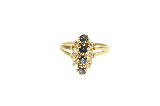 10K Sapphire Diamond Halo Cluster Ornate Statement Yellow Gold Ring, Size 6.5