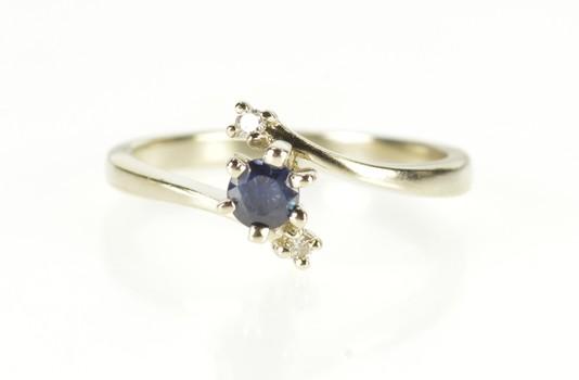 10K Sapphire Diamond Three Stone Engagement White Gold Ring, Size 6.25