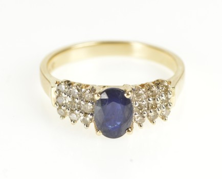 10K Sapphire Diamond Tiered Cluster Engagement Yellow Gold Ring, Size 7.25