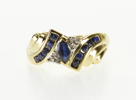 10K Sapphire Oval Diamond Accent Grooved Bypass Yellow Gold Ring, Size 7