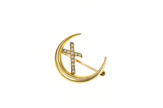 10K Seed Pearl Cross Crescent Moon Victorian Yellow Gold Pin/Brooch