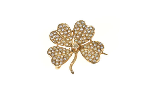10K Seed Pearl Encrusted Diamond Shamrock Clover Yellow Gold Pin/Brooch