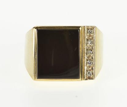 10K Square Black Onyx Diamond Statement Yellow Gold Ring, Size 9.5