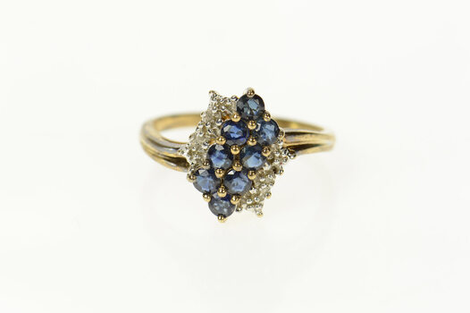 10K Squared Diagonal Sapphire Diamond Bypass Yellow Gold Ring, Size 7.25