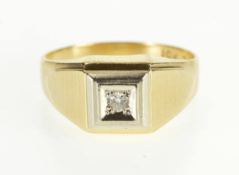 10K Squared Diamond Graduated Grooved Textured Yellow Gold Ring, Size 9.75