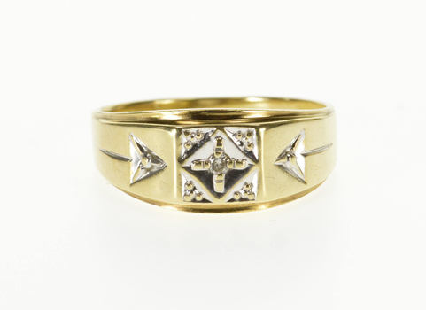 10K Squared Diamond Inset Design Men's Statement Yellow Gold Ring, Size 11.5