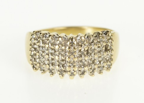 10K Squared Diamond Tiered Cluster Fashion Yellow Gold Ring, Size 10