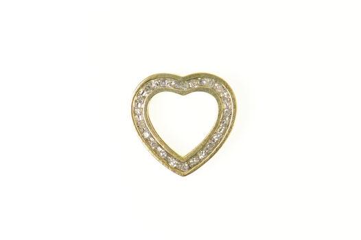 10K Squared Heart Channel Diamond Love Symbol Yellow Gold Pendant