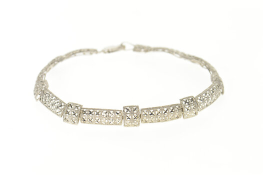 "10K Squared Sparkly Studded Pattern Statement White Gold Bracelet 7.25"""