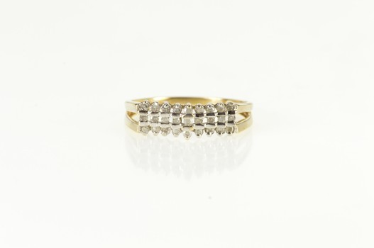 10K Squared Tiered Diamond Statement Band Yellow Gold Ring, Size 8.25