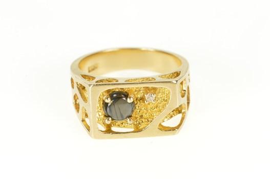 10K Star Sapphire Diamond Squared Nugget Lattice Yellow Gold Ring, Size 10.25