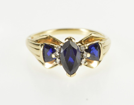 10K Syn. Marquise Trillion Sapphire Diamond Inset Yellow Gold Ring, Size 4.25
