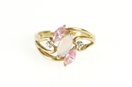 10K Syn. Opal Pink CZ Diamond Bypass Statement Yellow Gold Ring, Size 6