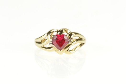 10K Syn. Ruby Diamond Accent Wavy Freeform Yellow Gold Ring, Size 6.5