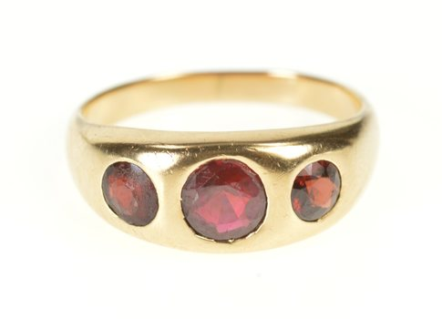 10K Syn. Ruby Flush 1930's Men's Statement Yellow Gold Ring, Size 10.75