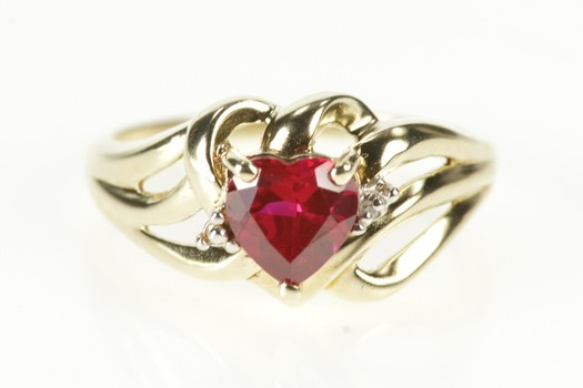 10K Syn. Ruby Heart Diamond Accent Anniversary Yellow Gold Ring, Size 6.5