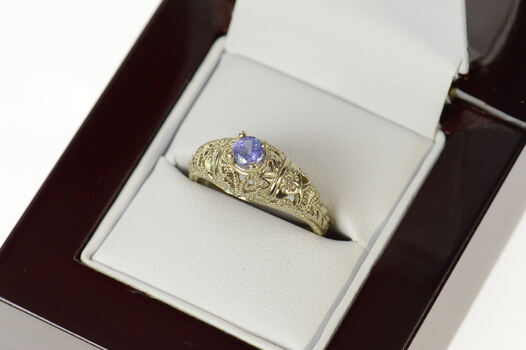 10K Tanzanite Art Deco Ornate Filigree Statement White Gold Ring, Size 6