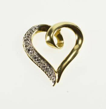10K Textured Design Diamond Inset Loop Heart Yellow Gold Pendant