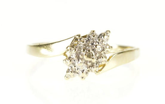 10K Textured Diamond Cluster Bypass Statement Yellow Gold Ring, Size 6.75