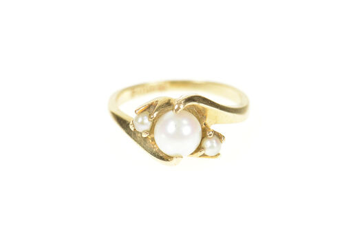 10K Three Stone 1960's Pearl Bypass Yellow Gold Ring, Size 5