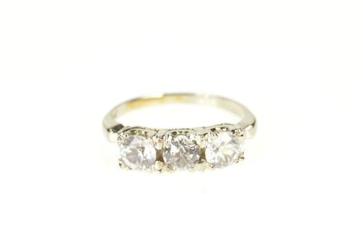 10K Three Stone Cubic Zirconia Retro Statement White Gold Ring, Size 2.25