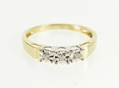 10K Three Stone Diamond Retro Engagement Yellow Gold Ring, Size 7