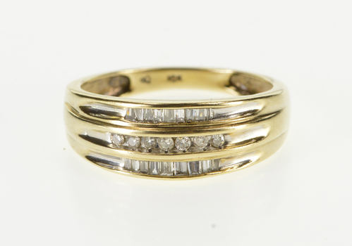 10K Tiered Channel Diamond Inset Wedding Band Yellow Gold Ring, Size 7.25