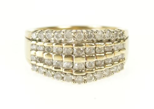 10K Tiered Diamond Graduated Statement Band Yellow Gold Ring, Size 7.25