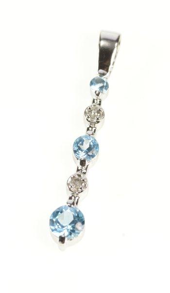 10K Tiered Journal Blue Topaz Diamond Bar White Gold Pendant