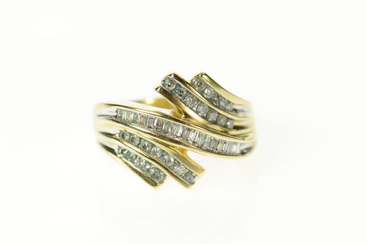10K Tiered Round Baguette Diamond Bypass Yellow Gold Ring, Size 8